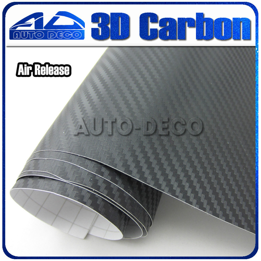 Wholesale 3D DIY Black Carbon Fiber Wrap  Roll Film Sticker Decal for Car Wrapping foil air release Size: 1.52*30m/Roll best top selling new stylish decal carbon fiber skin sticker for xbox one console
