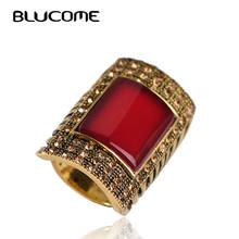 Женское кольцо в стиле ретро blucome красное Большое Квадратное