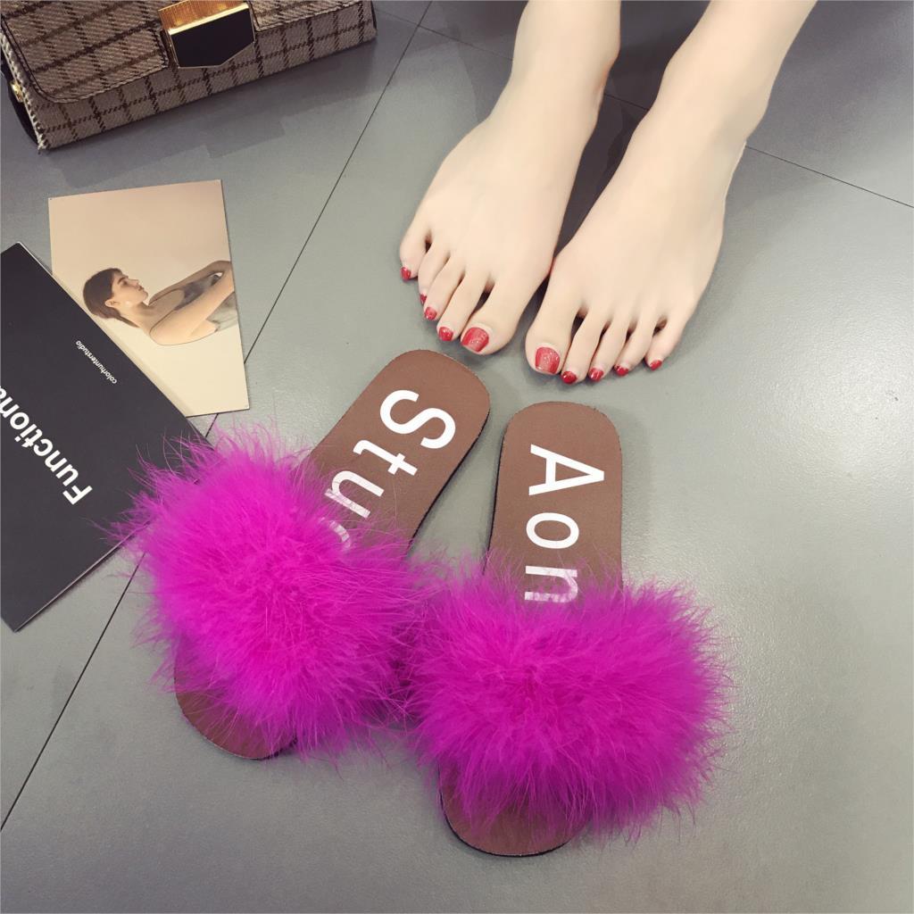 Women Summer Slippers Ostrich Fur Beach Sandals Summer Slides Flip Flop Soft Sole Outdoor Sandals Fashion Lady Slippers