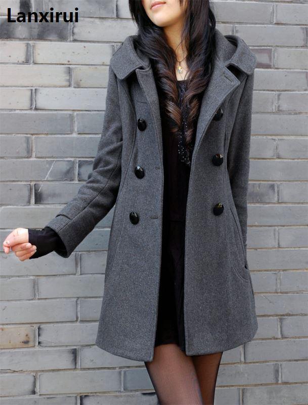 Женское кашемировое пальто, новая зимняя ветровка с меховым воротником