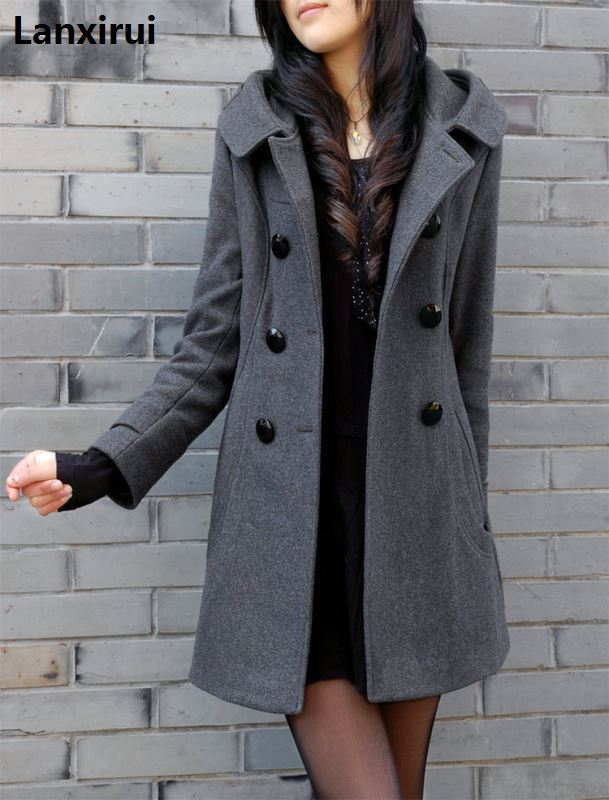 Новинка, зимнее шерстяное пальто с меховым воротником, шерстяная ветровка, женское кашемировое пальто, зимняя куртка для женщин, плюс
