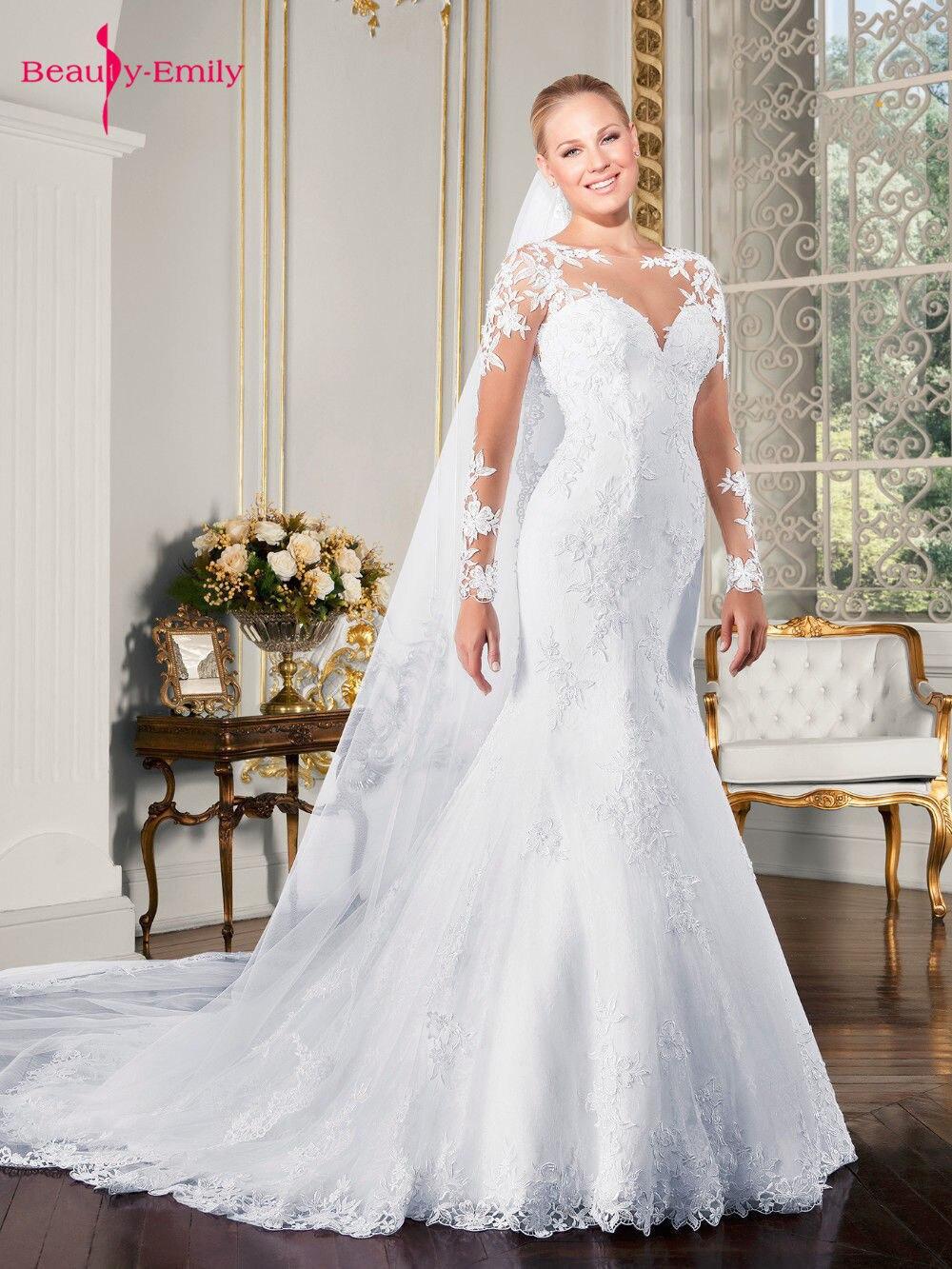 Beauty Emily Luxurious Embroidery Vestidos De Novia Long V Neck Lace Appliques Mermaid Wedding Dresses 19 Backless Bridal Gown 1
