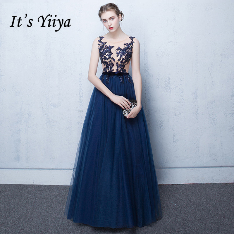 It\'s YiiYa Sleeveness Fashion Designer Prom Gown Simple Flower ...