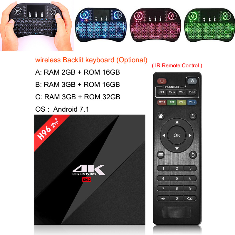 US $18 06 37% OFF|H96 Pro+ 3G 32G 2 4G 5GHz Wifi BT4 1 4K box Amlogic S912  Top Set box Smart tv box android 7 1 Android tv box H96 plus Vs X96 Max-in