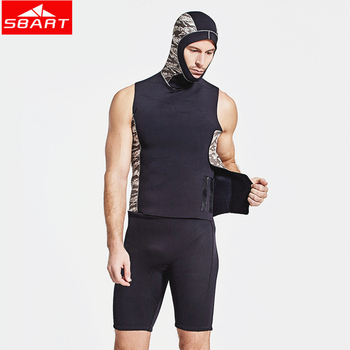 SBART 3MM Neoprene Wetsuits Vest Camouflage Sleeveless Quick-Dry Surfing Diving Bathing Suits Men's Inside Wetsuit Vest with Cap