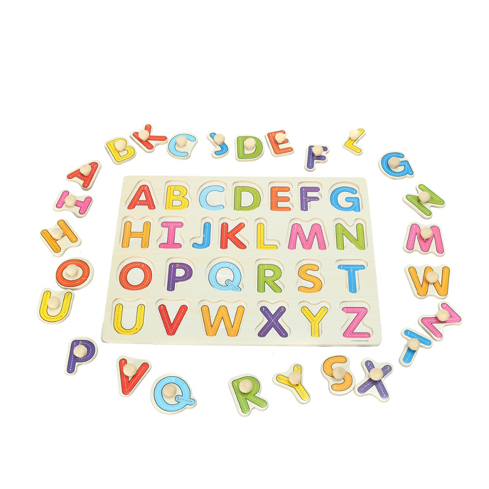 Jimitu New Kid Education Toys Alphabet Abc Wooden Jigsaw Puzzle Toy Children Kids Develop Early Learning Educational Game Gift Volume Large Puzzles