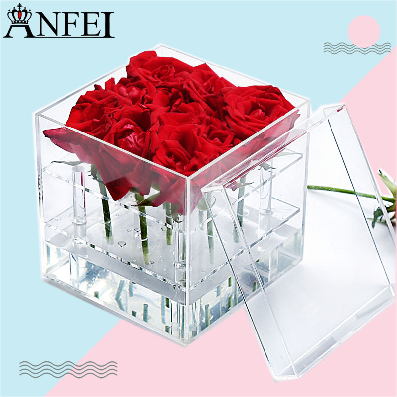 Anfei Jewelry display Rose Storage box Flower water jets Rose display rack Gift packing of flowers