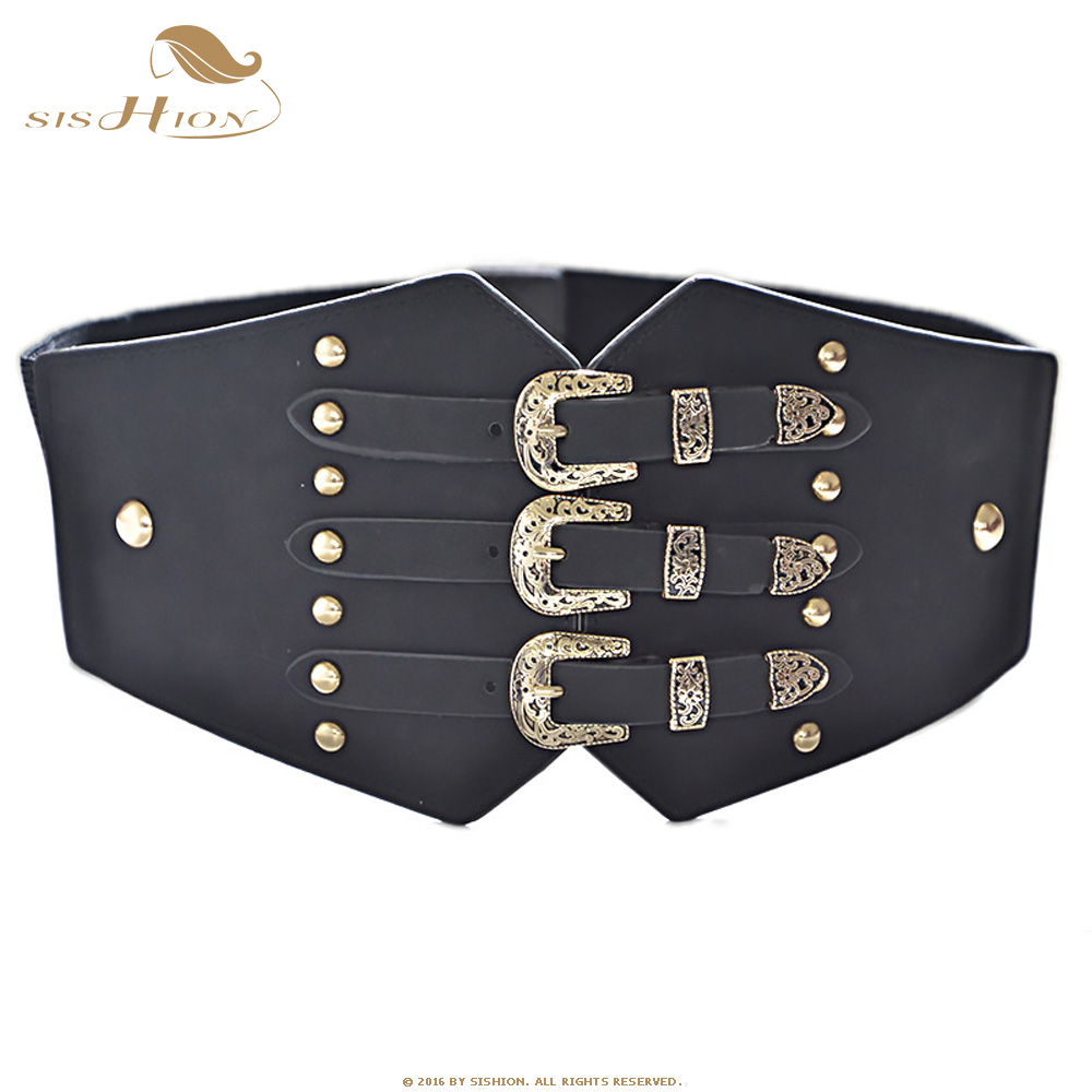 SISHION Vintage Elastic Cummerbunds Wide Belts For Women Dresses QY0247 Punk Belt Faux Leather Belt Corset Brand Belt