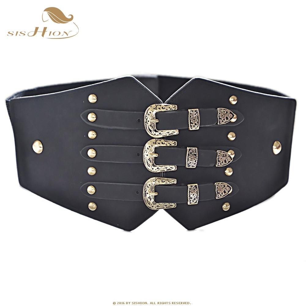 SISHION Vintage Elastic Cummerbunds Wide Belts For Women Dresses QY0247 Punk Belt Faux Leather Belt Corset Brand Belt