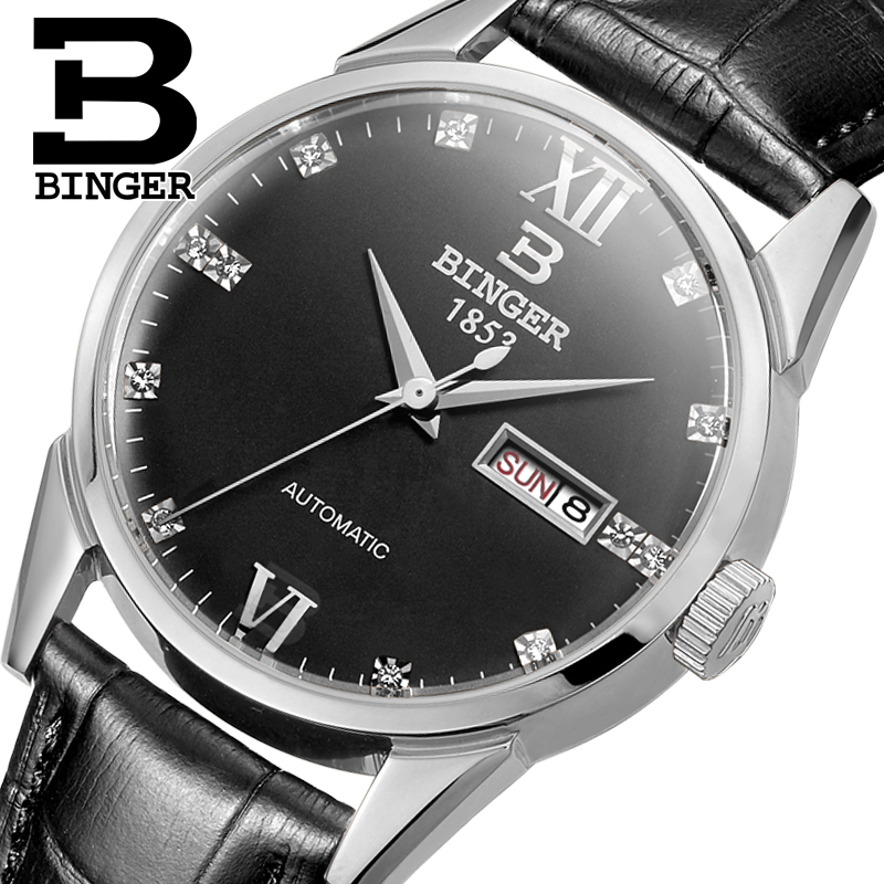 Switzerland men's watch luxury brand Wristwatches BINGER 18K gold Automatic self-wind full stainless steel waterproof  B1128-15 switzerland men s watch luxury brand wristwatches binger luminous automatic self wind full stainless steel waterproof b106 2