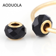 10 Pcs a Lot Gold-Color Black faceted Glass Beads Round DIY Murano Big Hole Beads Charm Fit For Pandora Charms Bracelet