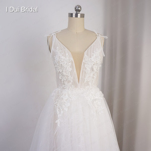 Image 2 - Split Leg Wedding Dress Short Inside Long Outside Floral Lace with Bow Tie Bridal Gown