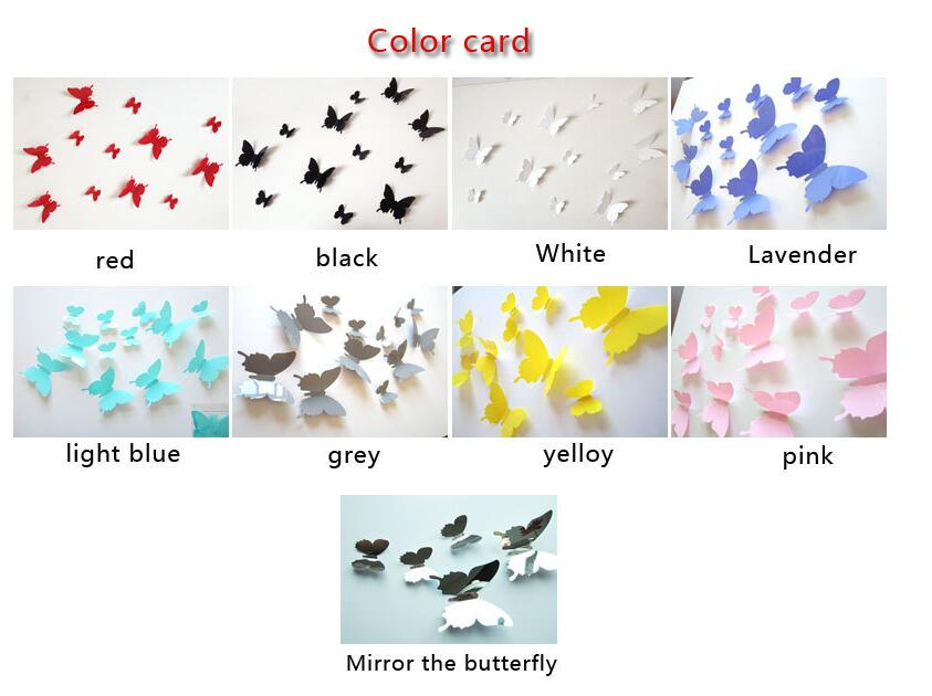 9 Colors 12pcs/ lot PVC 3D Butterfly Home Decor Solid Color Small Europe Cute Wall Stickers Decoration Butterflies Decals Pink