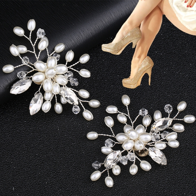 KLV 2Pcs Elegant Fashion Rhinestone Pearl Shoes Clips Flower Dress Hat Wedding Party Shoe Decorations eykosi fashion gold tone rhinestone shoe clips flower glass wedding diamante sparkle