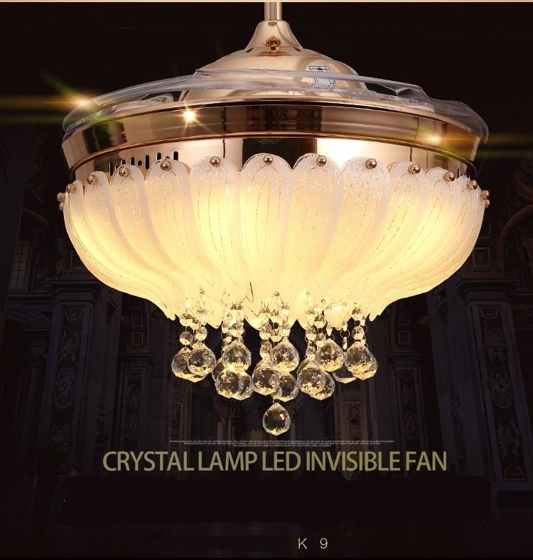 Светодиодный потолочный кристалл вентилятор свет стелс вентилятор потолочный светильник Гостиная Ресторан в сложенном виде современный м... ...