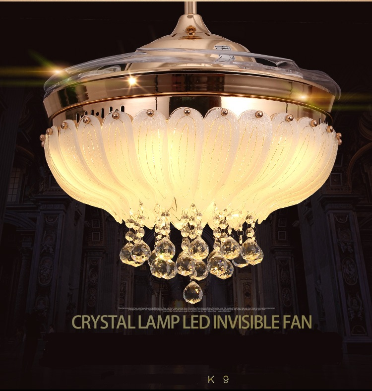 LED ceiling Crystal fan light stealth fan ceiling light living room restaurant folded mo ...
