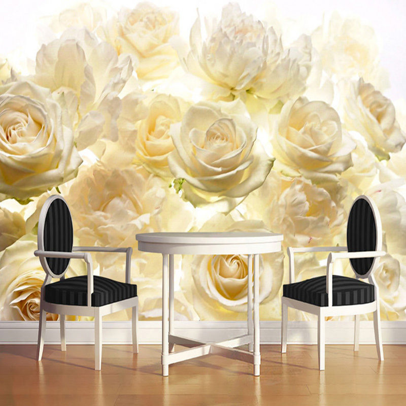 Modern Simple Yellow Rose Photo Wallpaper Fashion Interior Flower Design 3D Stereo Mural Living Room Bedroom