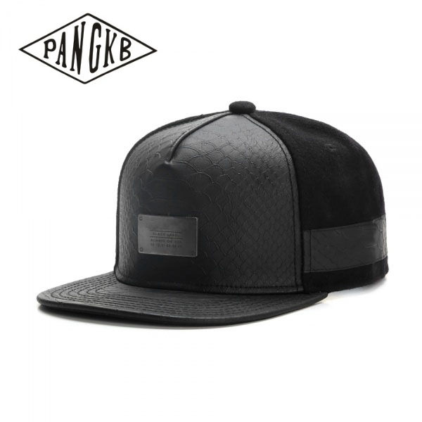 PANGKB Brand PLATED CAP black leather snapback hat men women adult hip hop Headwear outdoor casual sun baseball cap gorras bone