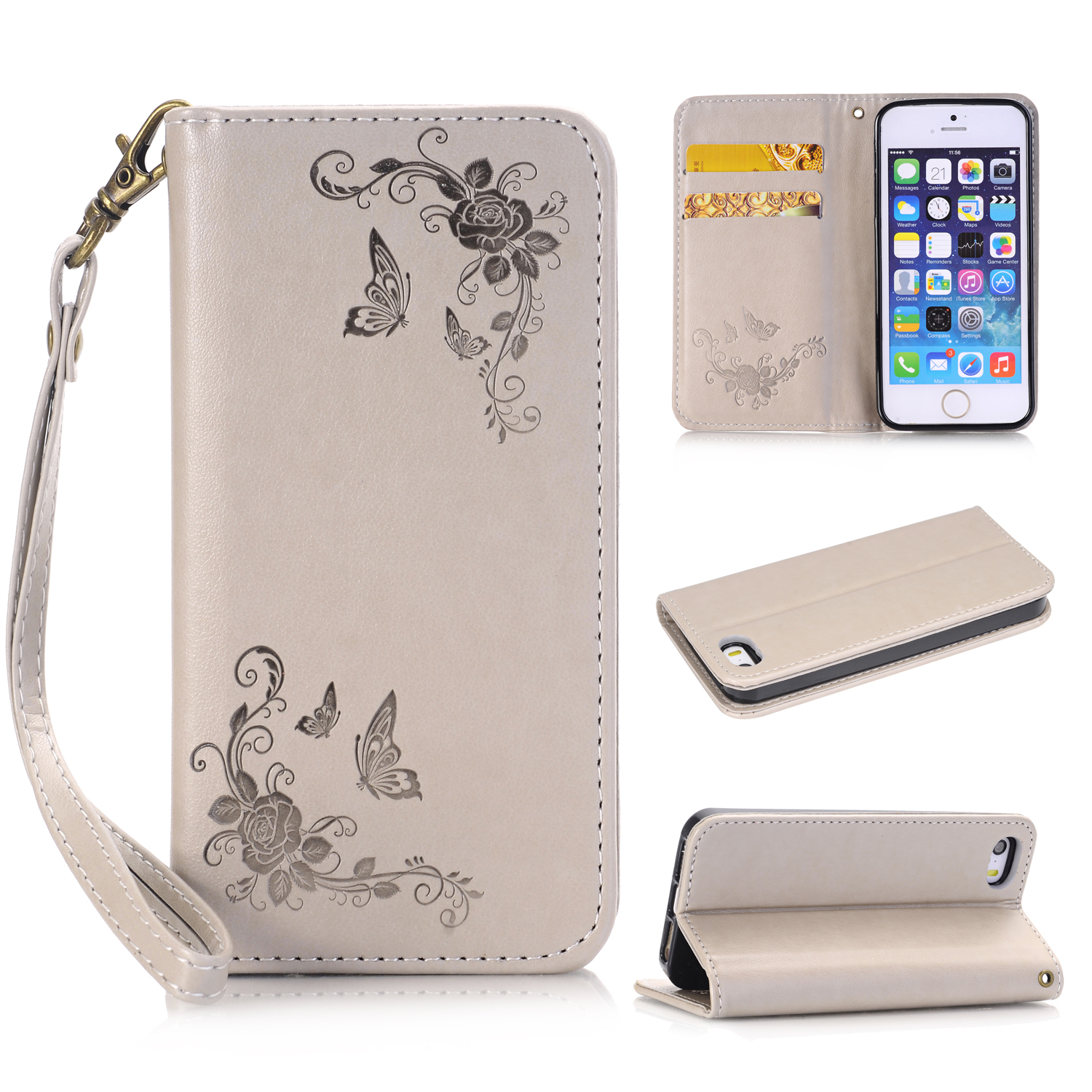For iPhone 5 5S Fashion Flower Printing Luxury PU Leather Wallet Flip Cover Phone Case for