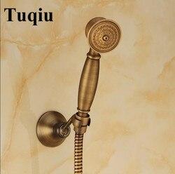 Antique Bronze Classical Telephone Held Shower Head 1.5M stainless steel shower plumbing hose brass shower holder hand shower