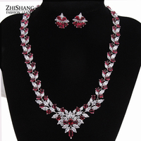 Luxury Ruby White Gold Plated Cluster AAA Cubic Zirconia Diamond Jewelry Sets For Fashion Women Wedding