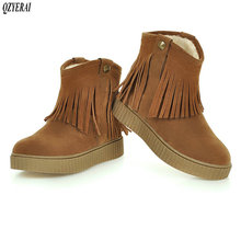 QZYERAI New arrival winter plush warm snow boots women ankle tassel shoes size 34-43
