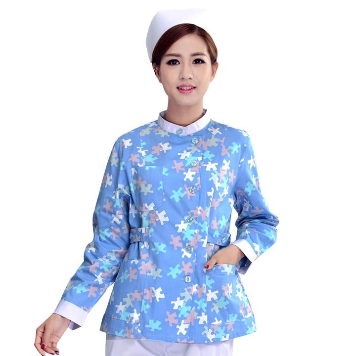 Novi stil žena medicinska sestra jednoobrazni bolnički piling bolnički print cvijet Medicinski piling medicinska odijela Lab Coat Besplatna dostava