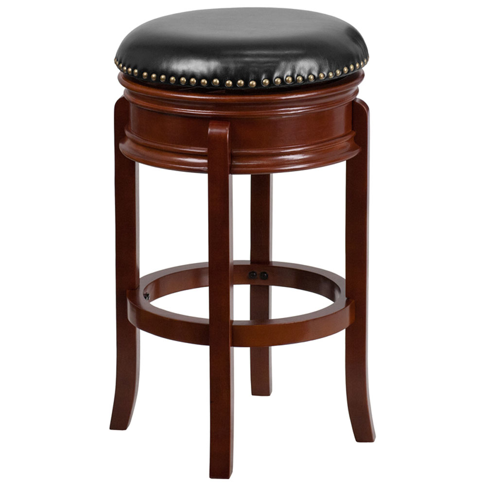 Flash Furniture 29'' Backless Light Cherry Wood Backless Design Barstool with Black Leather Swivel Seat низкая назад backless бюстгальтер ремень адаптер конвертера полностью регулируемый extender крюк новый
