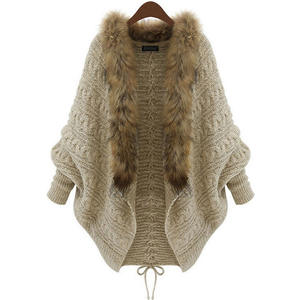 Knit Cardigan Loose Sweater Large-Size Winter Women's Bat-Sleeve Vestidos Fall Fashion