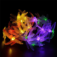 Outdoor Dragonfly Solar String Lights 5M 20 LED 8 Modes Waterproof Fairy Lighting for Christmas Trees Garden Patio Party