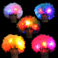 Free Shipping LED Flashes Explosion of Head Curly Wig Fans Wig Clown Halloween Decoration Colorful Luminous Headgear Party Wig