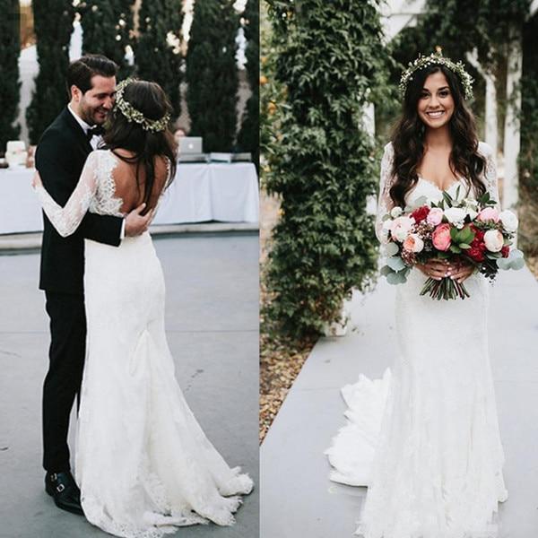 Sheath Wedding Dresses 2019: Lace Wedding Dresses 2019 Long Sleeves Sheath Romantic