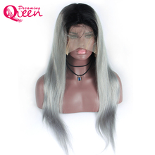 Dreaming Queen Hair Straight Ombre Color Wig 1B/Grey Full Lace Human Hair Wig with Dark Black Roots 100% Brazilian Remy Hair Wig