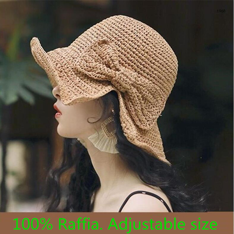 Fashion Lady 100% Raffia Sun Hats Women Summer Straw Hat Visor Sunhat Panama Boater Floppy Bucket Cap Female Woman Straw Beach
