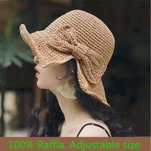 Women Summer Visor Bucket-Cap Straw-Hat Floppy Boater Sunhat Panama Female Beach Fashion