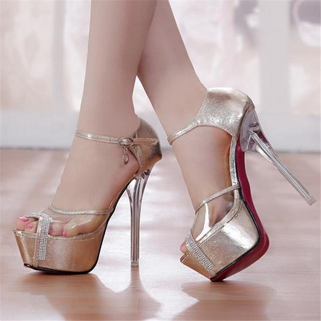 Sangle de Cheville de Femmes Haut Talons Sandales Chaussures Peep Toe Partie Femelle Mi-Talon avec Boîte de Nuit Sexy,Silver-38
