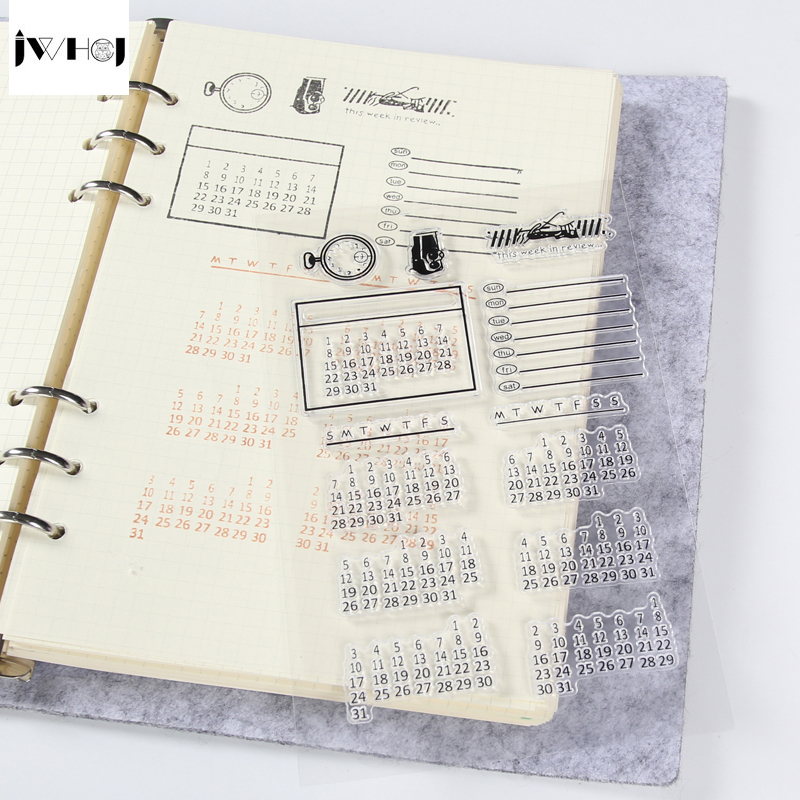 Calendar Style Transparent Stamp for Diary Scrapbook Gift Cards Decoration