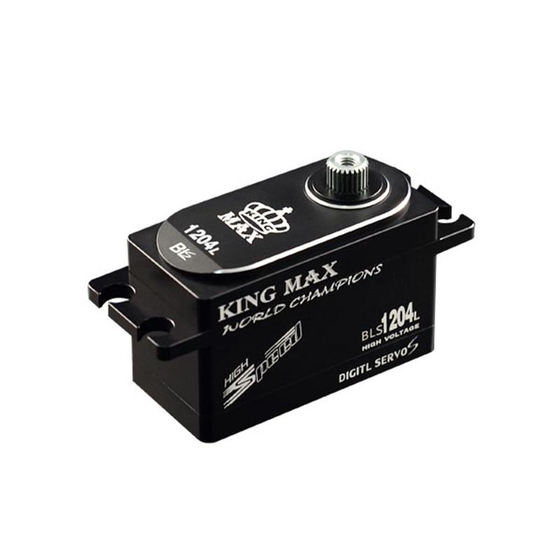 цена на KINGMAX BLS1204L 50g 12kg.cm digital metal gear low profile servo waterproof full CNC aluminum case for RC heli 1/8 1/10 cars