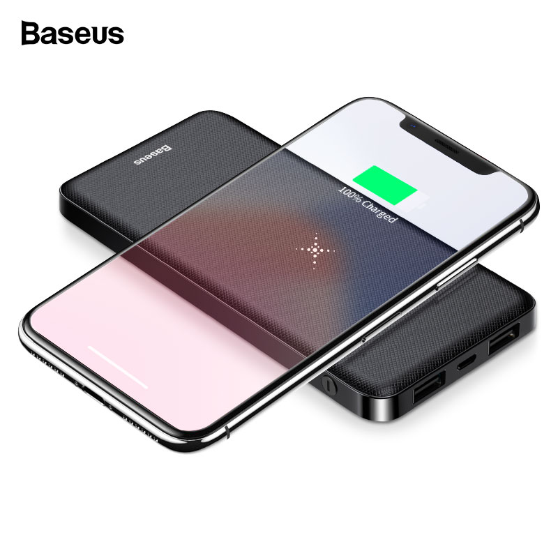 Baseus 10000mAh Wireless Charger Power Bank Dual USB Powerbank External Battery Wireless Charging Poverbank For iPhone Samsung usb battery bank charger