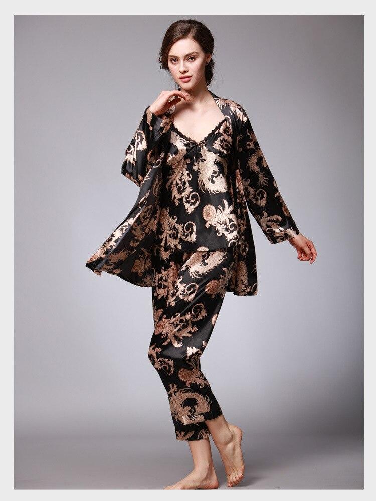 394a9da392 Summer Silk Satin Robe 3 Pcs Pajamas Pants Sets Sex Ladies Sleep Lounge  Dragon Print Night Shirt Female Home clothes for women