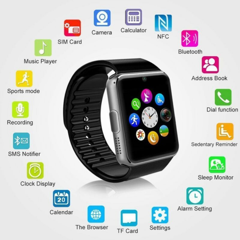1.5 inch Smart LCD Watch Card Bluetooth 3.0 GT08 Wear Watch Multi-Language Health Monitoring Men's Wristband for Android phone