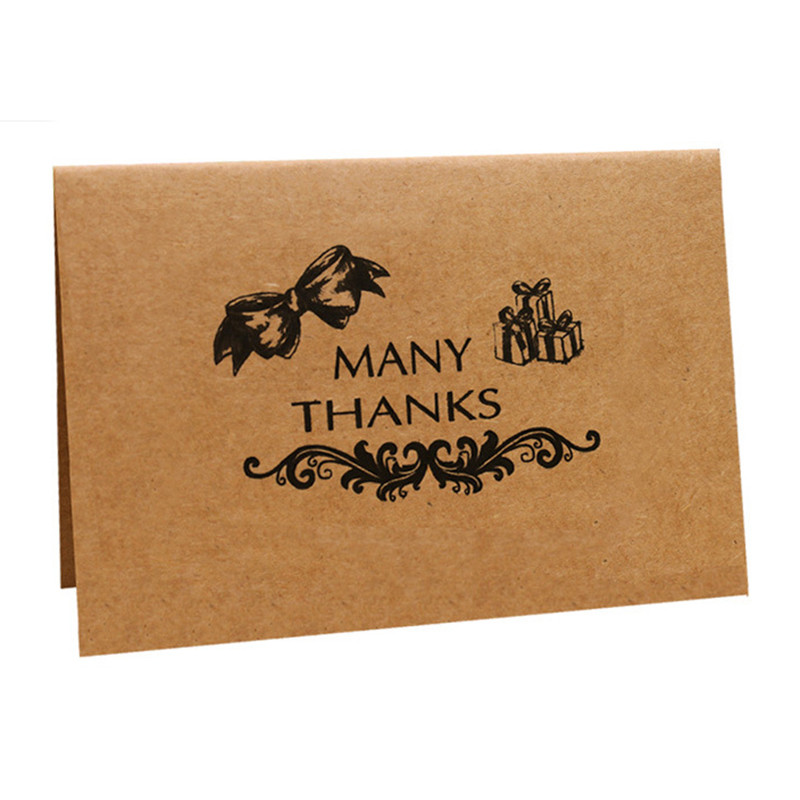 10 Pack Brown Kraft Paper Thank You Cards Blank on the Inside with envelopes Kraft Paper Envelopes for Weddings Graduatio ...