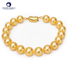 [YS] Fine Jewelry Perfect Round 6.5-7mm Gold Akoya Pearls Bracelet Seawater Cultured Pearl Strand Bracelet