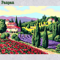 Frameless Hand Painted Canvas Oil Paintings Rural Scenery DIY Painting By Numbers Wall Art Decorative Pictures