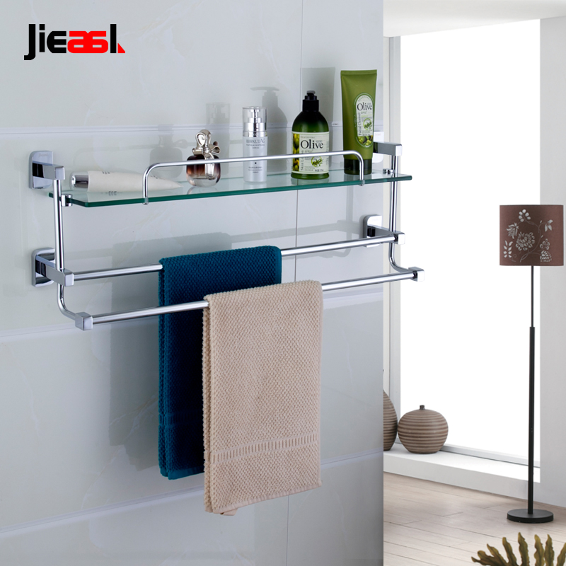 Jieshalang Brass Glass Bathroom Shelves Single Tier Shelf Cosmetic ...