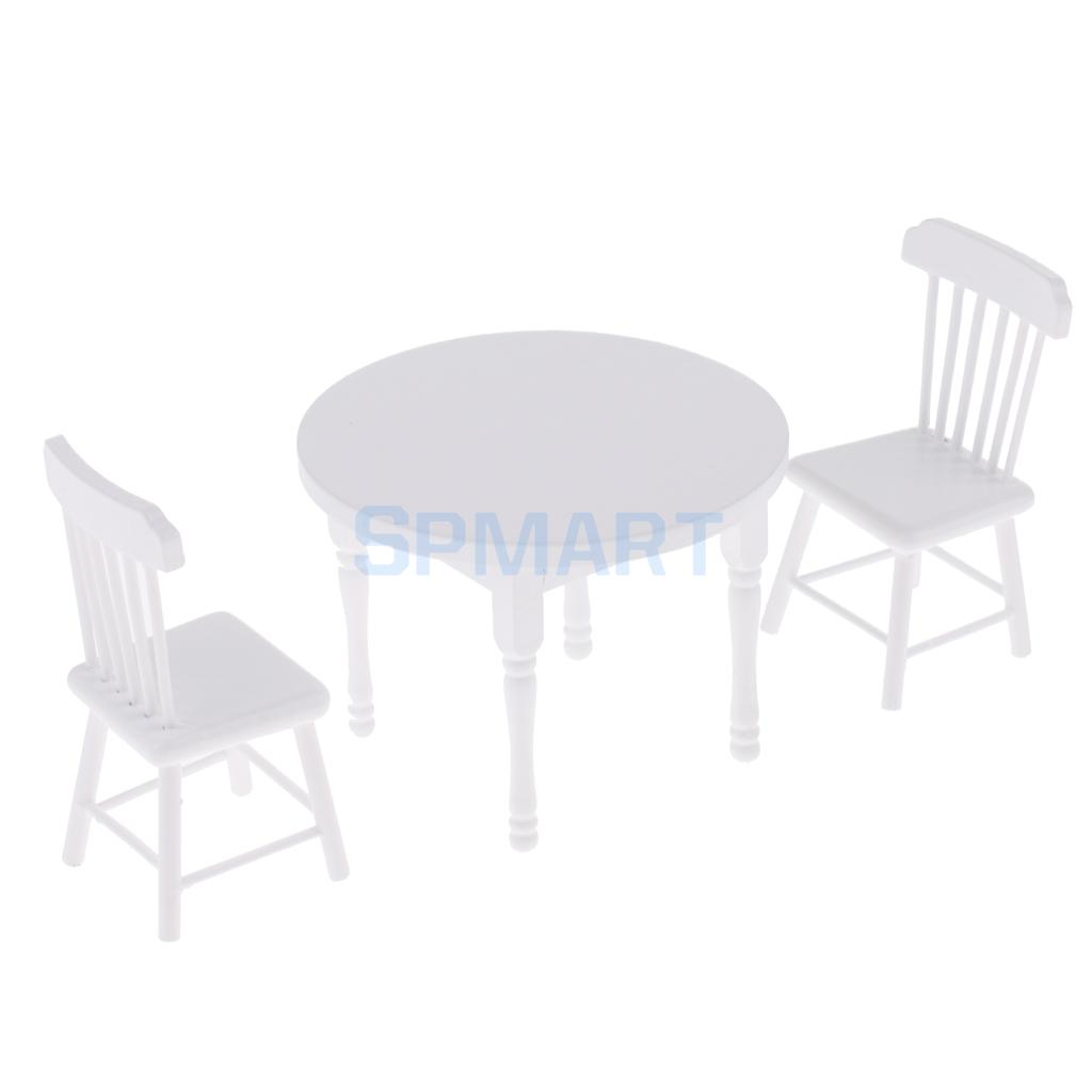 1/12 Scale Dollhouse Miniature Furniture Wooden Round Coffe/Tea Table with 2 Chairs Set White ...
