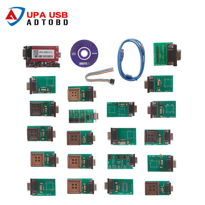 Hot Sell UPA-USB UPAUSB UPA USB Programmer With Full Adaptors V1.3 ECU Chip Tunning OBD2 Diagnostic Tool Free Shipping hot selling for toyota ecu self learn tool free shipping with best price shipping free