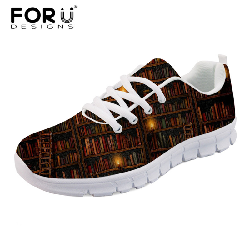 FORUDESIGNS Fashion Girls Spring Walking Flats Vintage Booking Print Casual Comfortable Mesh Shoes Women's Light Weight Sneakers forudesigns teen girls summer pink flat shoes cute nurse bear print women light mesh sneakers casual comfort walking shoes mujer