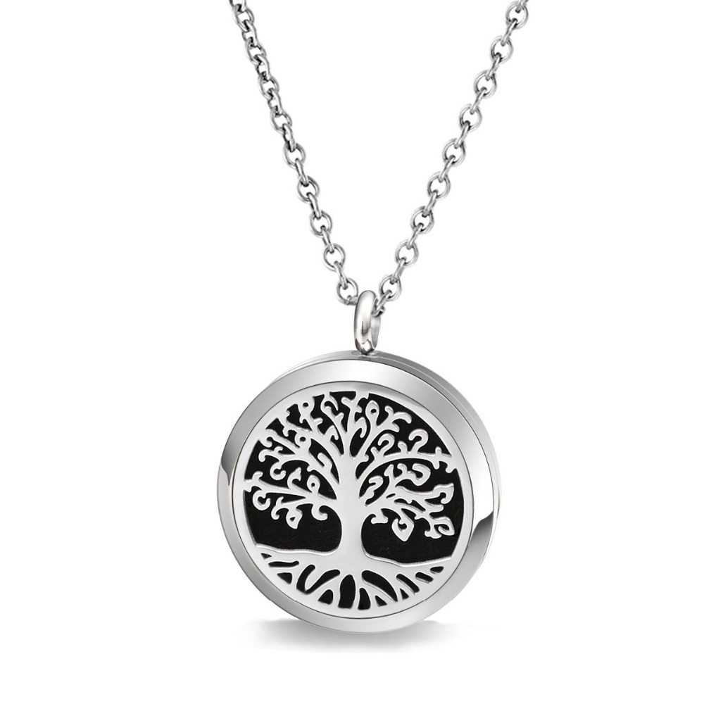 8 Free pads 30mm tree life desgin locket stainless steel diffuser pendant with chain