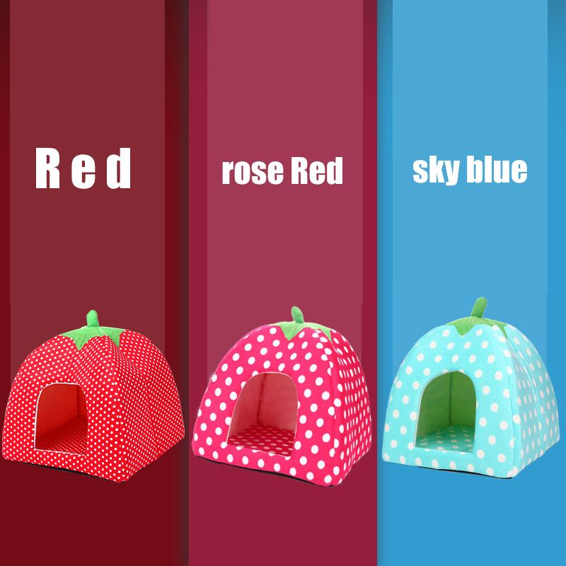 Collapsible cat dog kennel warm three-color cushion strawberry sponge pet house doghouse ...